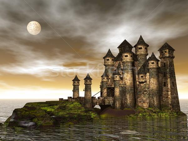 Сток-фото: замок · 3d · визуализации · красивой · холме · океана · коричневый