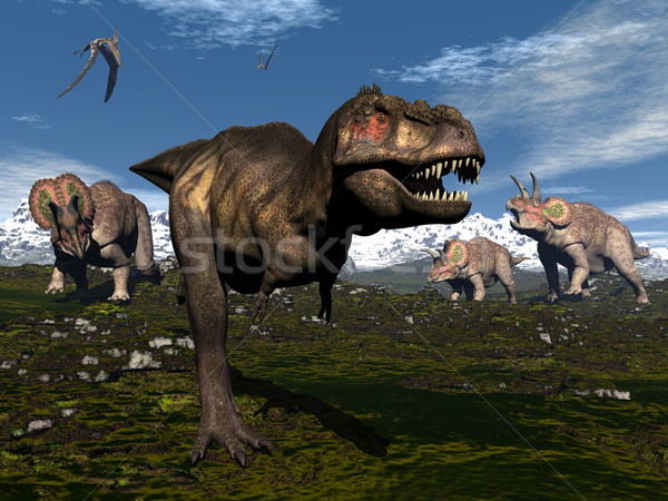 Tyrannosaurus rex attacked by triceratops dinosaurs - 3D render Stock photo © Elenarts