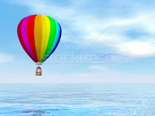 Kleurrijk luchtballon 3d render een vliegen water Stockfoto © Elenarts
