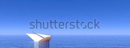 Zinken boot 3d render klein zeilen diep Stockfoto © Elenarts