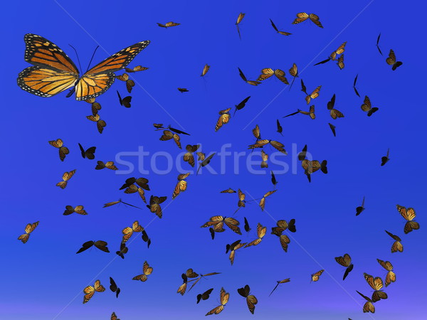 Monarch butterflies migration - 3D render Stock photo © Elenarts