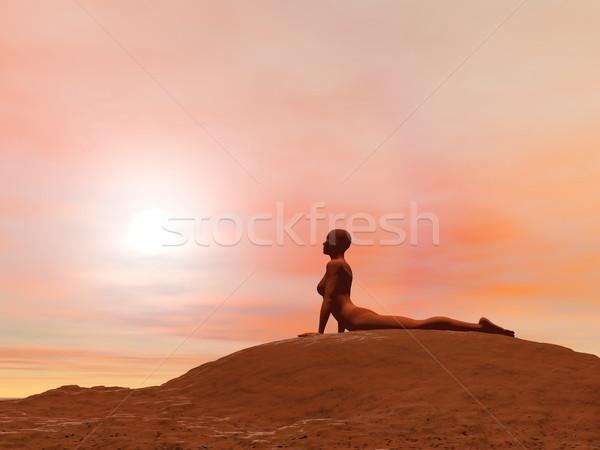 Cobra pose 3d render mulher jovem ioga Foto stock © Elenarts
