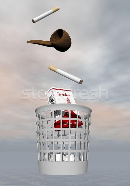 Arrêter fumer rendu 3d cigarettes pipe Photo stock © Elenarts