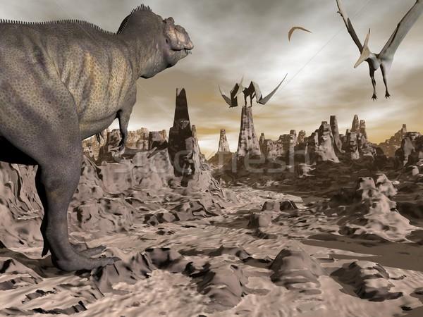 Tyrannosaurus running to pteranodons - 3D render Stock photo © Elenarts