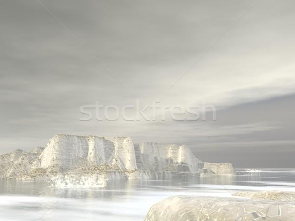 Stock fotó: 3d · render · szürke · felhős · pólus · tájkép · hó