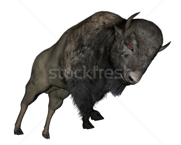 Bison charging - 3D  render Stock photo © Elenarts