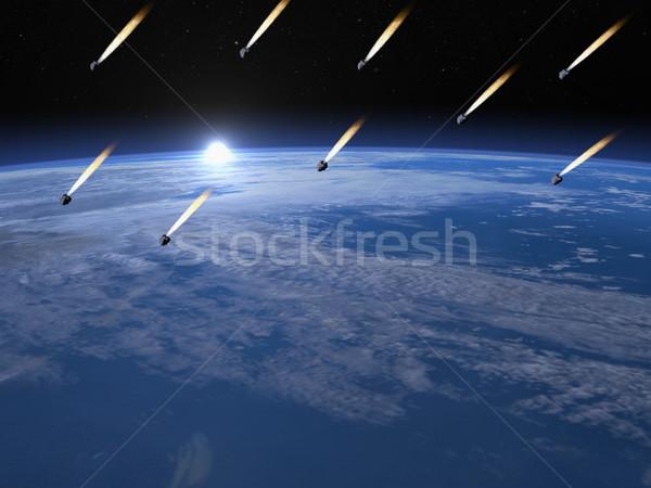 Meteorite doccia rendering 3d terra sunrise elementi Foto d'archivio © Elenarts