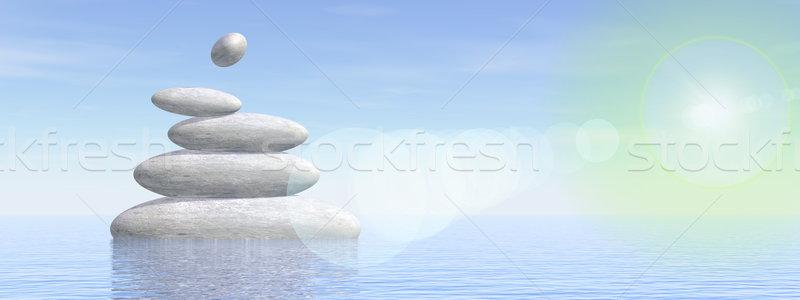 Balance stones - 3D render Stock photo © Elenarts
