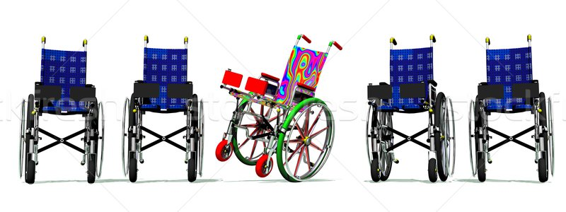 Funny and happy colorful wheelchair Stock photo © Elenarts