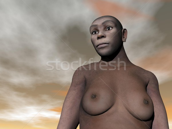 Female homo erectus - 3D render Stock photo © Elenarts
