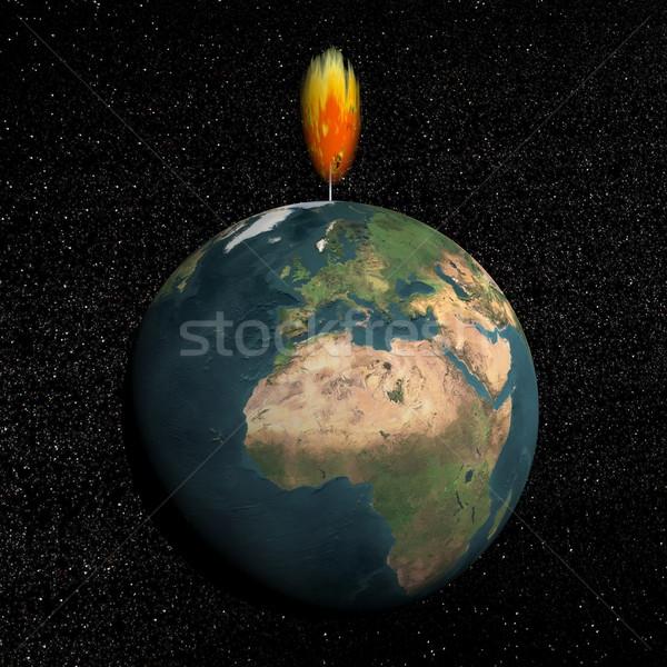 Earth as light - 3D render Stock photo © Elenarts