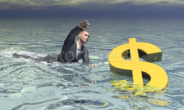 Stock photo: Businessman and dollar sinking - 3D render
