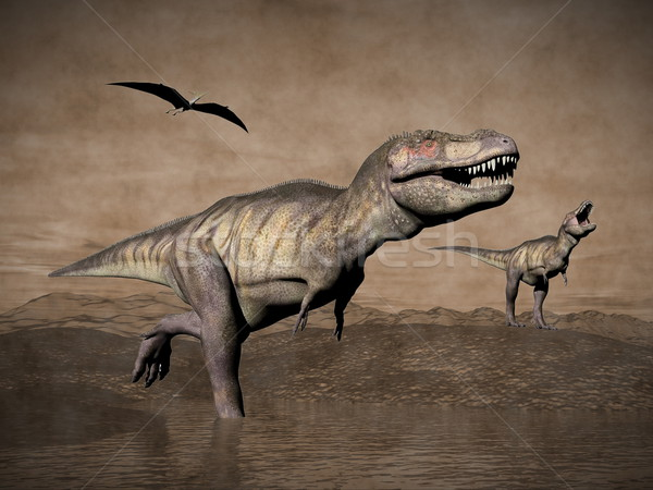 Tyrannosaurus dinosaurs - 3D render Stock photo © Elenarts