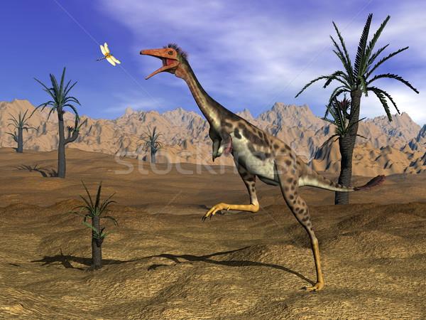 Mononykus dinosaur hunting - 3D render Stock photo © Elenarts
