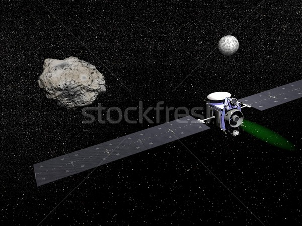 Dawn spacecraft, Vesta and Ceres - 3D render Stock photo © Elenarts