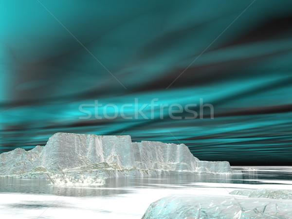 Northern lights (aurora borealis)  - 3D render Stock photo © Elenarts