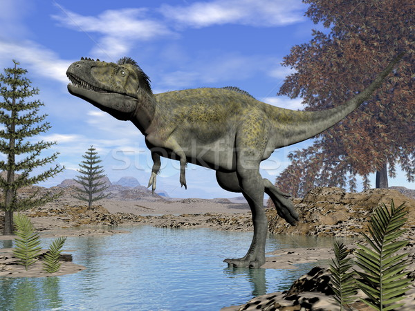Alioramus dinosaur - 3D render Stock photo © Elenarts