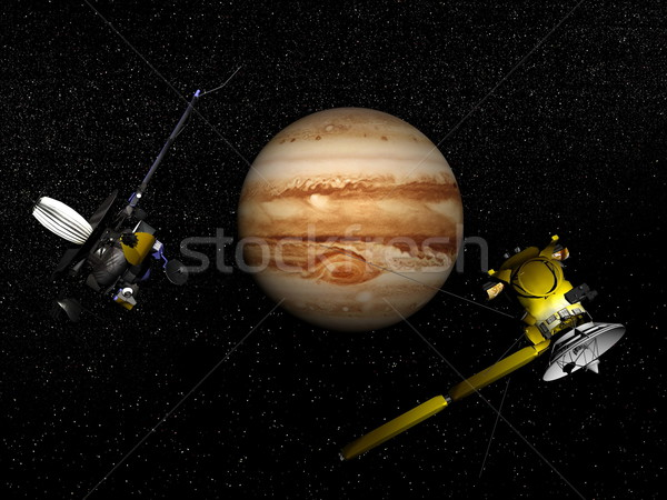 Galileo and Cassini spacecraft next to Jupiter - 3D render Stock photo © Elenarts