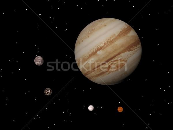 Jupiter and four galilean satellites of Jupiter (Callisto, Ganym Stock photo © Elenarts