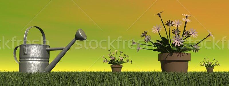 じょうろ 庭園 3dのレンダリング 花 ポット 花 ストックフォト © Elenarts