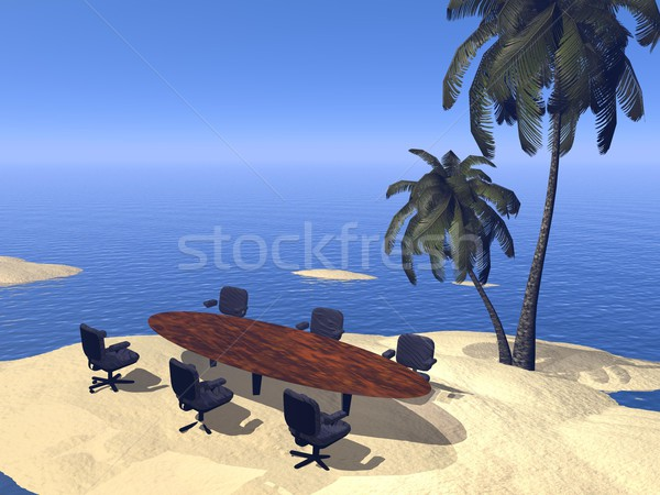Meeting at the beach - 3D render Stock photo © Elenarts