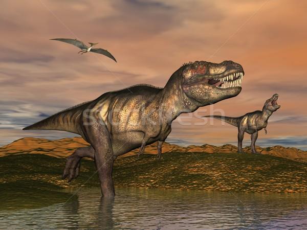 Tyrannosaurus rex dinosaurs - 3D render Stock photo © Elenarts