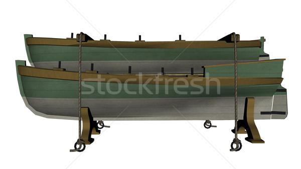 Green ancient lifeboats - 3D render Stock photo © Elenarts