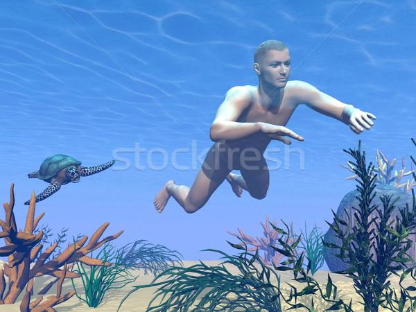 Man swimming - 3D render Stock photo © Elenarts