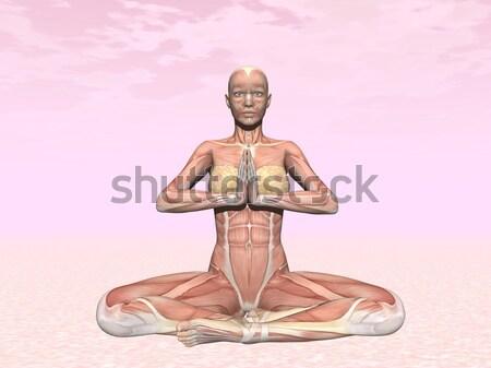 Spieren vrouw 3d render realistisch roze bewolkt Stockfoto © Elenarts