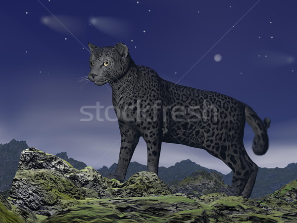 Black jaguar watching - 3D render Stock photo © Elenarts