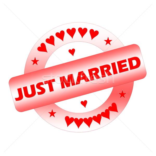 Friss házasok bélyeg piros izolált fehér esküvő Stock fotó © Elenarts