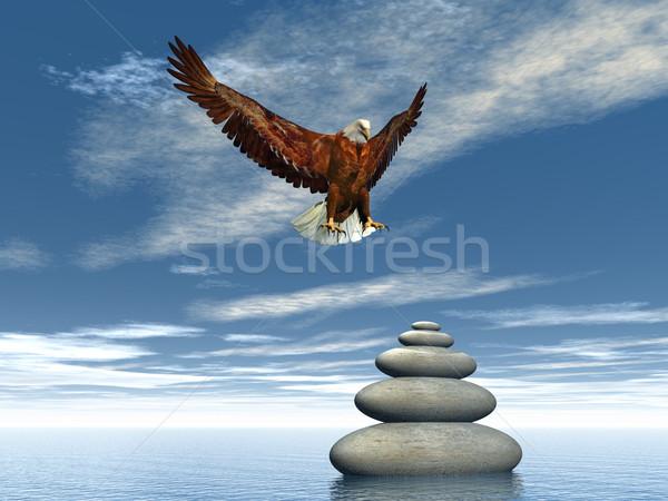 Peaceful eagle - 3D render Stock photo © Elenarts