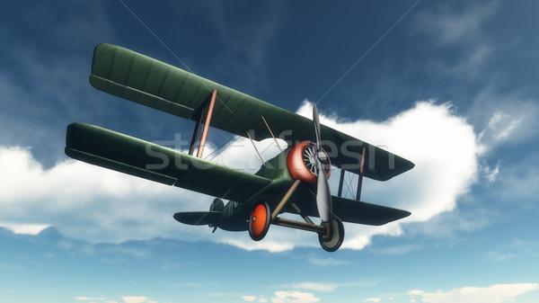 биплан Flying небе 3d визуализации синий облачный Сток-фото © Elenarts