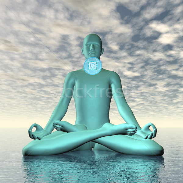синий горло чакра медитации 3d визуализации силуэта Сток-фото © Elenarts