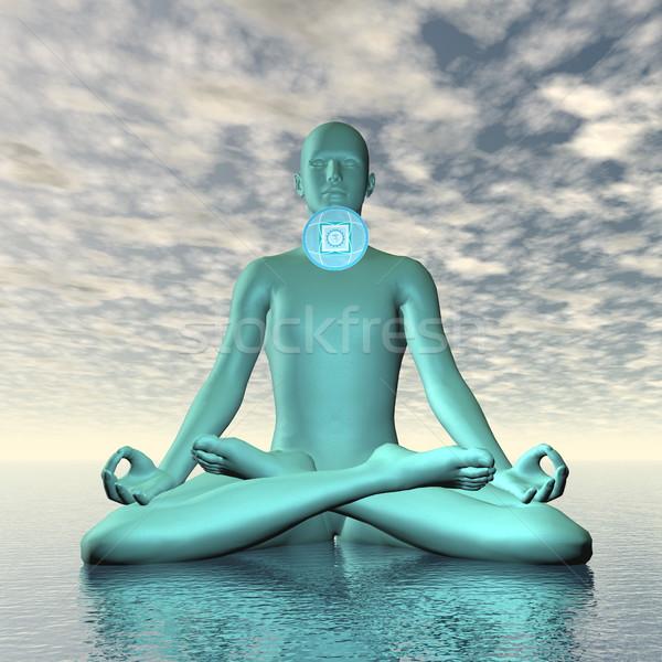 Azul garganta chakra meditação 3d render silhueta Foto stock © Elenarts