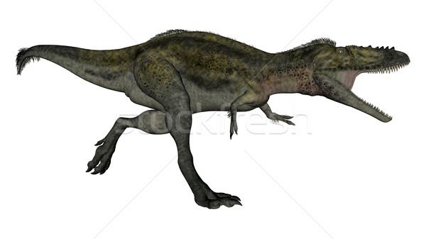 динозавр работает 3d визуализации изолированный белый запустить Сток-фото © Elenarts
