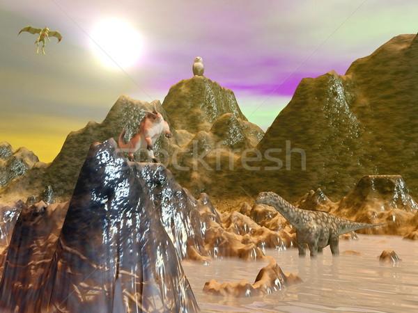 Fantasía paisaje árbol puesta de sol palma Foto stock © Elenarts