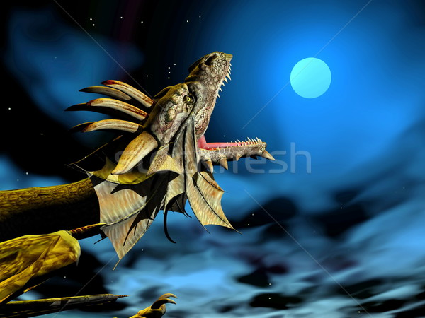 Dragon at the moon - 3D render Stock photo © Elenarts