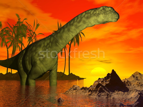 Argentinosaurus dinosaur by sunset - 3D render Stock photo © Elenarts