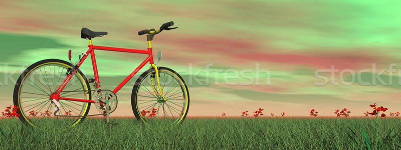 Mountain bike in nature - 3D render Stock photo © Elenarts