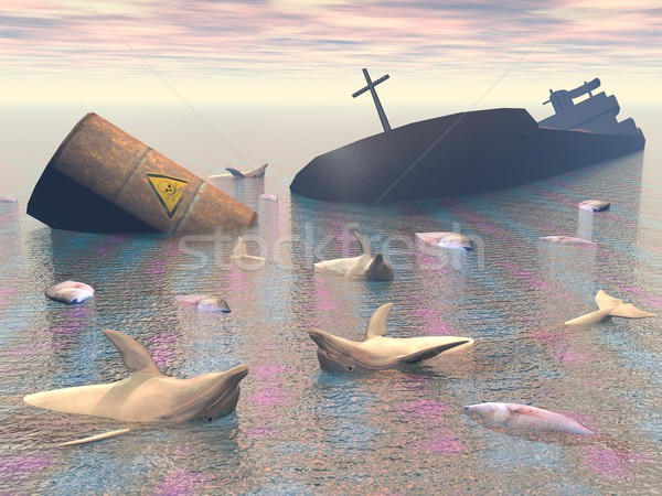 Foto stock: Industrial · catástrofe · 3d · render · destruir · tóxico · barril