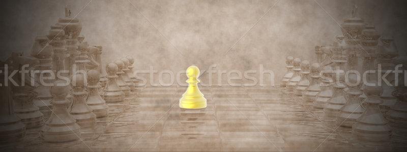 Satranç tahtası 3d render altın bağbozumu iş satranç Stok fotoğraf © Elenarts