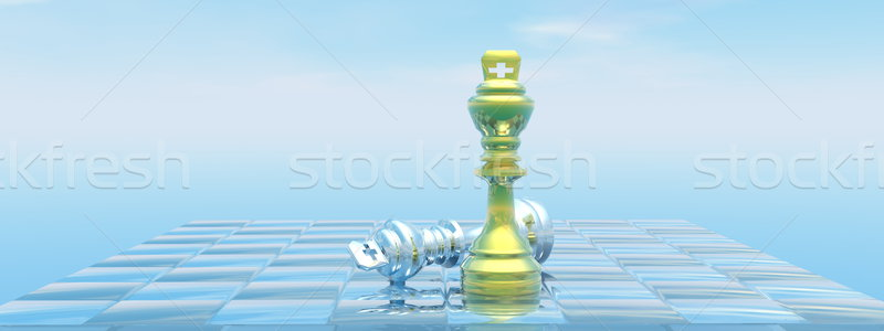 Kings checkmate - 3D render Stock photo © Elenarts