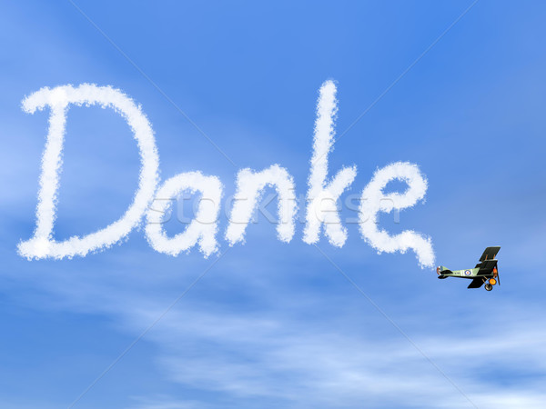 Danke, german thank you message, from biplan smoke - 3D render Stock photo © Elenarts