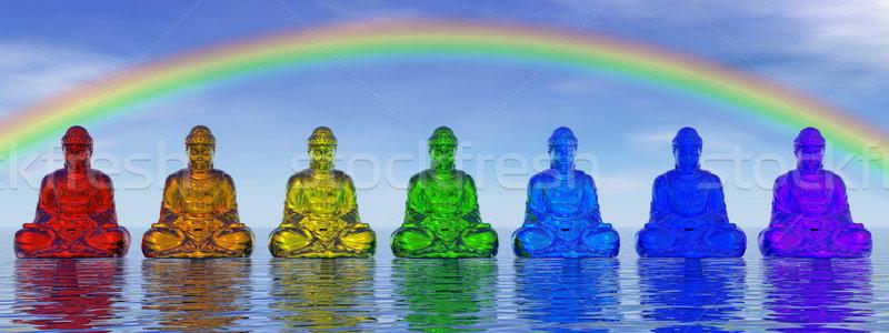 Chakra 3d render zeven klein kleuren mediteren Stockfoto © Elenarts