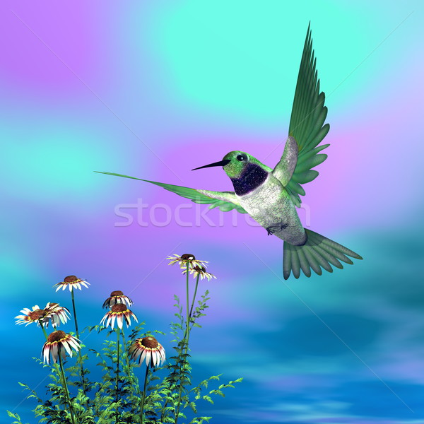Black-chinned hummingbird - 3D render Stock photo © Elenarts