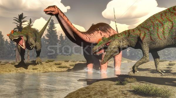 охота большой динозавр 3d визуализации два Постоянный Сток-фото © Elenarts