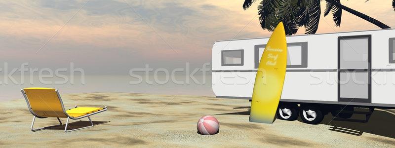 キャラバン 休日 ビーチ 3dのレンダリング リラックス サーフィン ストックフォト © Elenarts