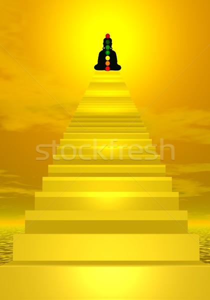 Stairs to buddha and chakras Stock photo © Elenarts