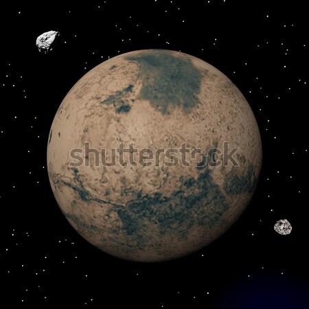 Mars planet and stars - 3D render Stock photo © Elenarts